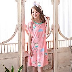 睡衣 牛奶絲質短袖連身睡衣(C01-100569雨天不要來) Young Curves