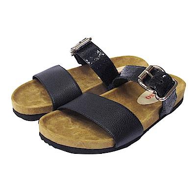 BESO 極簡時尚  質感寬帶線條平底涼拖鞋~黑