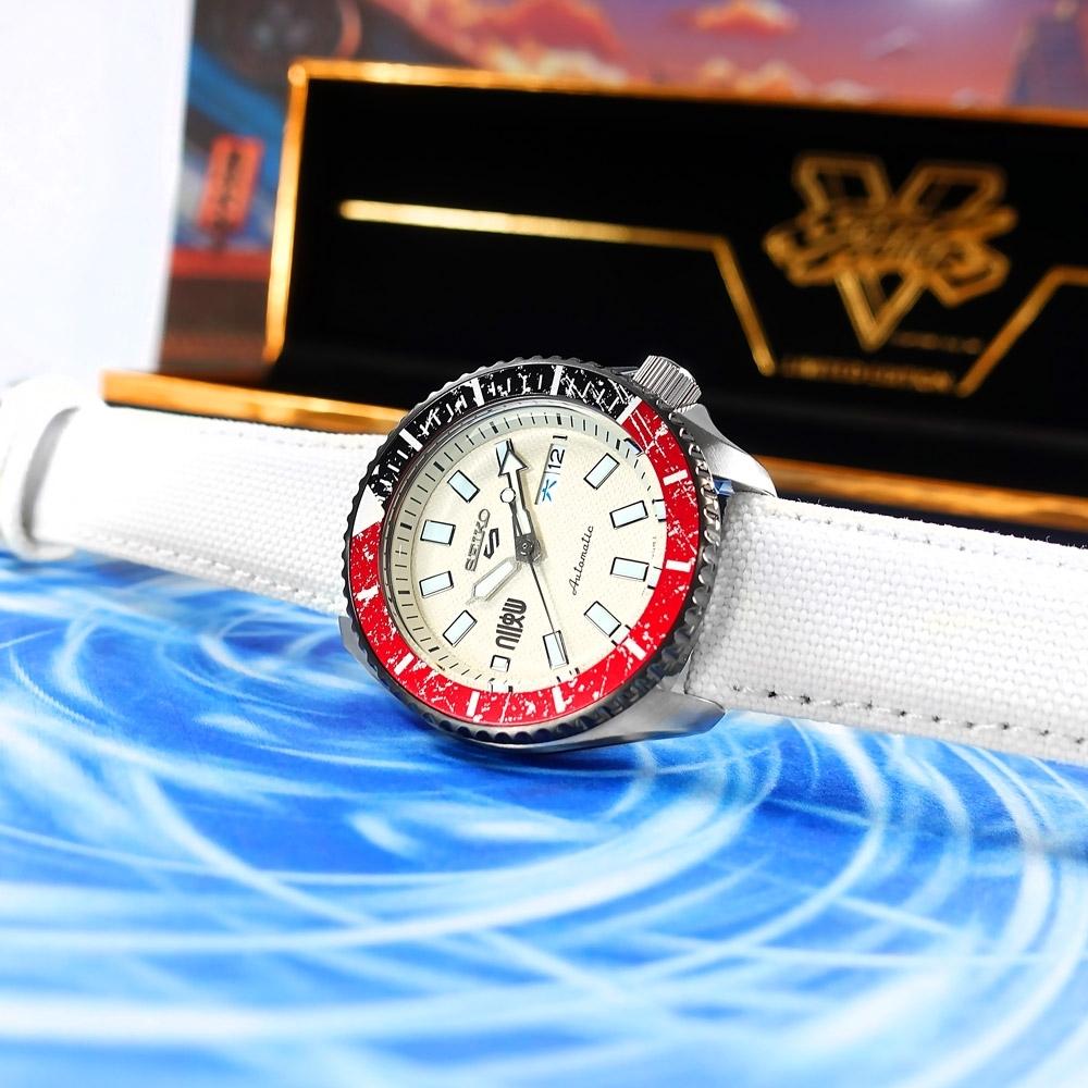 SEIKO 精工 限量款 5 Sports 機械錶 快打旋風 RYU隆 尼龍帆布手錶-白色/41mm