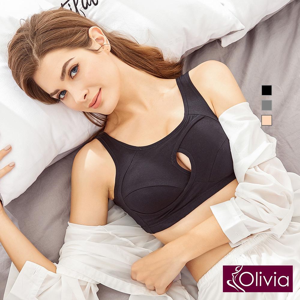 Olivia 歐美日熱銷 無鋼圈運動睡眠型內衣-黑色