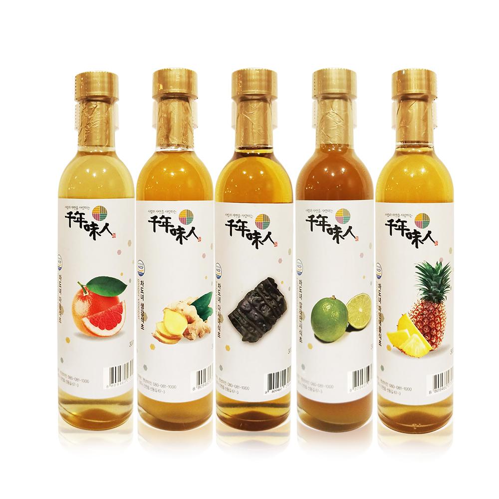 韓國千年味人天然釀造醋飲300ml 五口味各1入(鳳梨/葡萄柚/青檸/生薑/昆布)