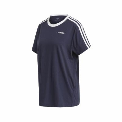 adidas T恤 ESS Boyfriend Tee 休閒 女款 愛迪達 三線 男友風 寬鬆 日常穿搭 藍 白 FN5778