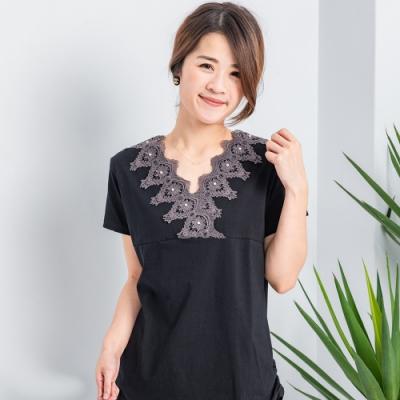 【白鵝buyer】優雅V領蕾絲造型上衣_黑