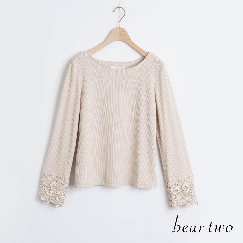bear two- 氣質蕾絲袖口造型上衣 - 杏