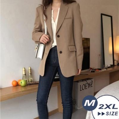 【LANNI 藍尼】韓風簡潔休閒西裝外套-2色(M-2XL)●