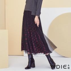 【YIDIE衣蝶】紅點點黑薄紗八分裙