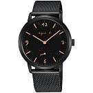 agnes b.法式風情簡約米蘭帶手錶(BN4009X1)-黑/38mm