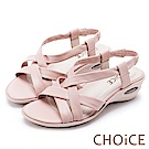 CHOiCE 簡約舒適休閒 交叉編織牛皮氣墊涼鞋-粉紅