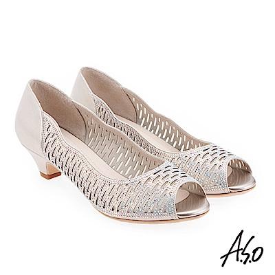 A.S.O 炫麗魅惑  全真皮璀璨水鑽魚口鞋 金色