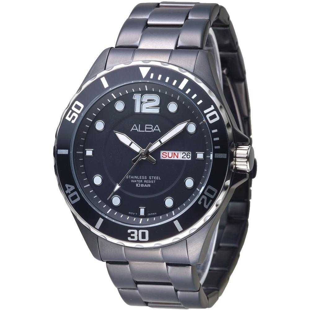 ALBA雅柏手錶 酷黑風雲蠔式錶框設計男錶-全IP黑(AV3519X1)/45mm 保固二年