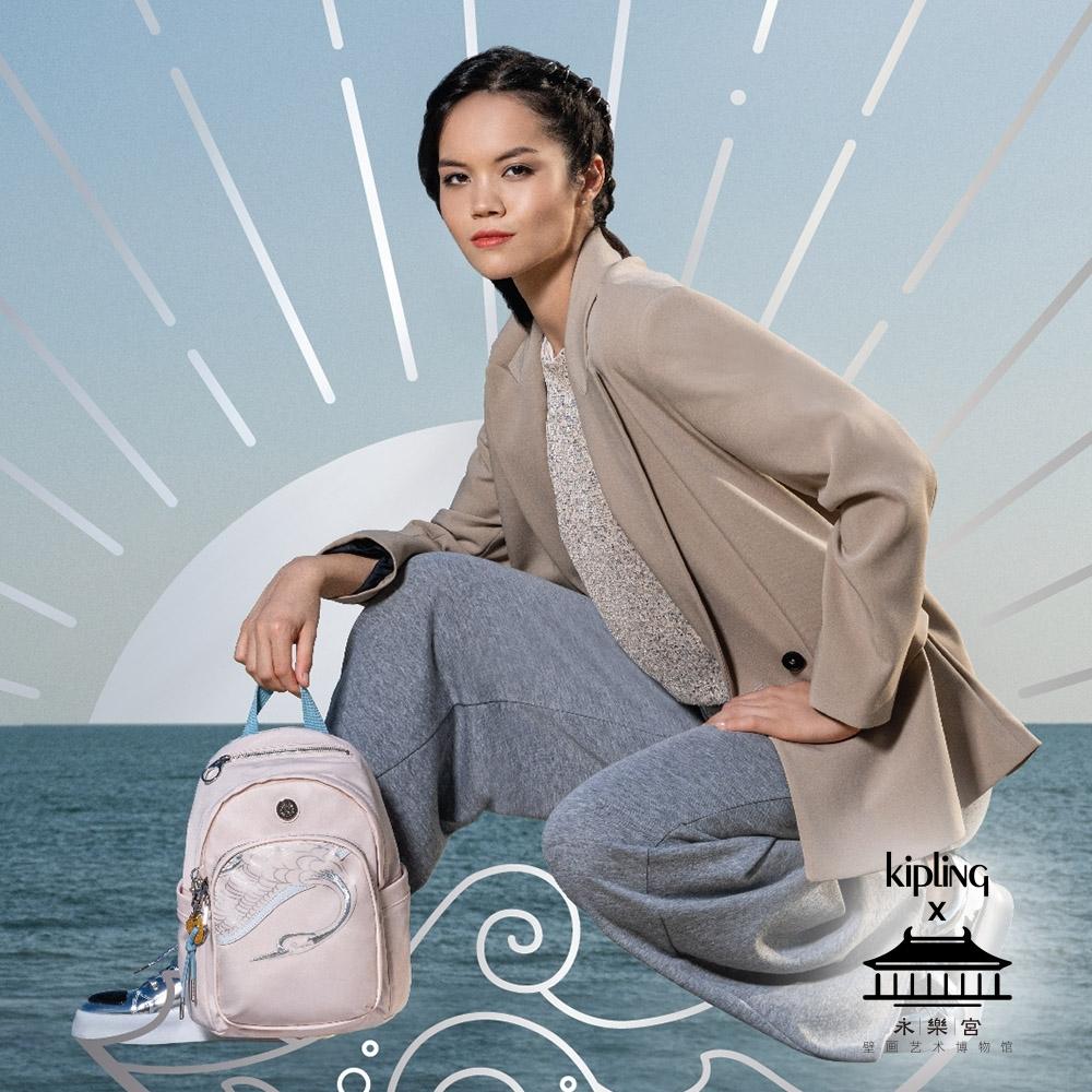 Kipling X 永樂宮聯名系列粉色雲間盛境拉鍊式小巧收納後背包-DELIA MINI