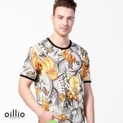 oillio歐洲貴族  冰涼感超柔圓領T恤 滿版金幣副克牌 白色