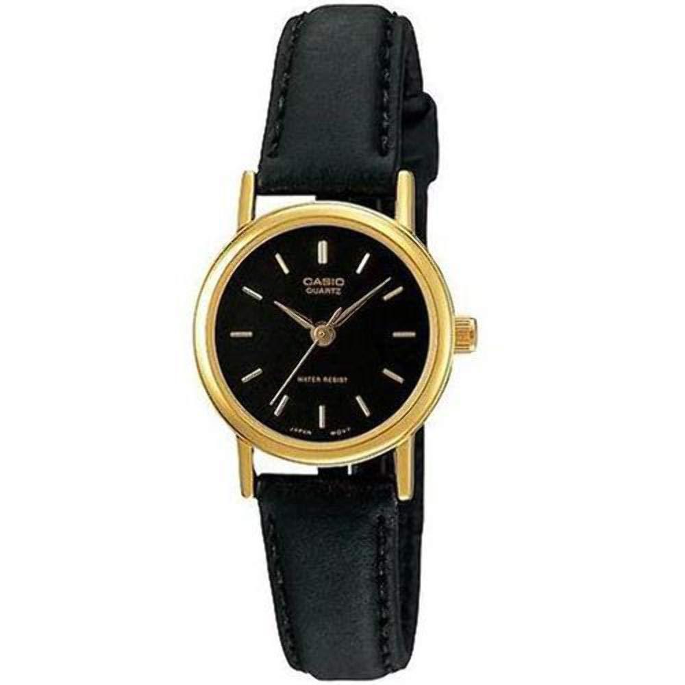 CASIO 精緻小巧婉約氣質女神皮帶腕錶(LTP-1095Q-1A)金框x黑面/25mm