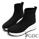 GDC-時髦運動風鑲鑽厚底襪靴-黑色