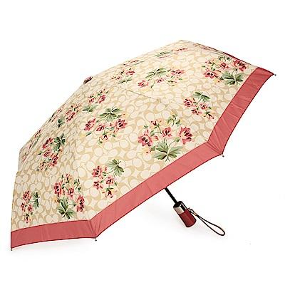 COACH 經典滿版C LOGO 花花圖案全自動開闔晴雨傘-紅/卡其色