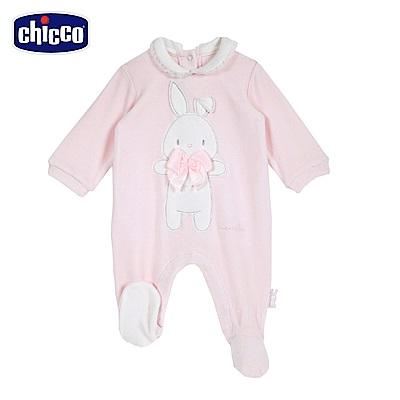 chicco-糖果兔系列-剪毛絨荷葉領後開兔裝-粉(3-12個月)