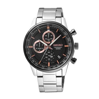SEIKO 飆速型男競速三眼腕錶-銀X玫瑰金(SSB331P1)/42mm