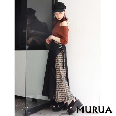 MURUA 異素材拼接撞色長裙(2色)