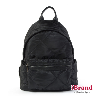 iBrand後背包 輕盈尼龍空氣包媽媽包後背包-黑色
