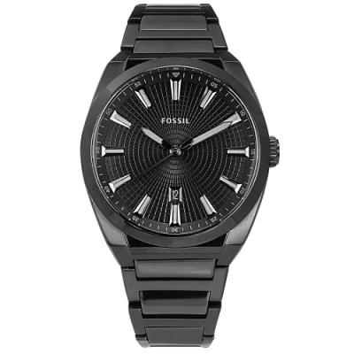 FOSSIL / 黑時尚 簡約百搭 放射狀錶盤 日期 不鏽鋼手錶-鍍黑/42mm