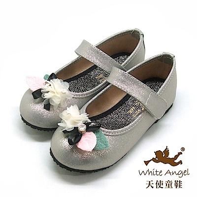 天使童鞋 微光典雅薔薇公主鞋(中-大童)J917-銀