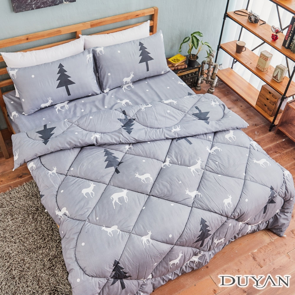 DUYAN竹漾-台灣製雙人床包組+可水洗羽絲絨被-聖誕馴鹿