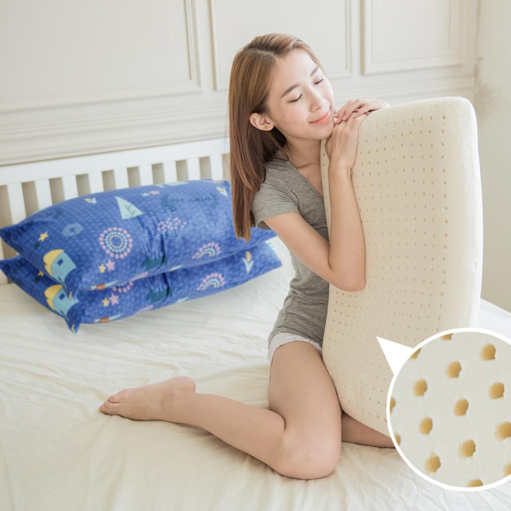 米夢家居-夢想家園系列-成人專用-馬來西亞進口純天然麵包造型乳膠枕-深夢藍一入