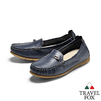 TRAVEL FOX(女) 歐式PENNY鋼琴大底牛皮舒適休閒懶人鞋 - 漾深藍