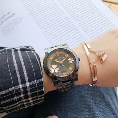 RELAX TIME Garden系列 鏤空陶瓷腕錶 RT-80-9 黑X玫瑰金/38mm