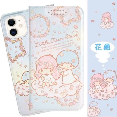 【雙子星】iPhone 11 (6.1吋) 甜心系列彩繪可站立皮套(花圈款)