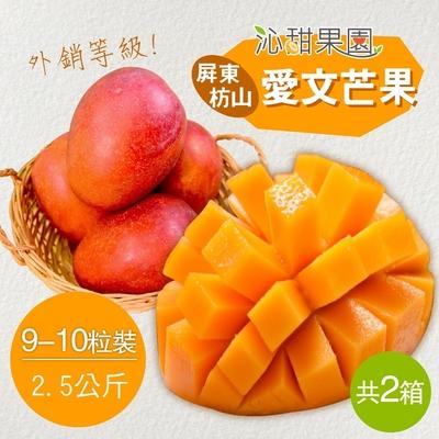 沁甜果園SSN‧外銷等級-屏東枋山愛文芒果(9-10粒裝/2.5公斤)(共二箱)