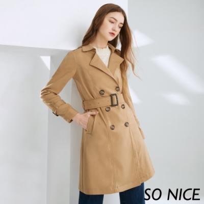 SO NICE都會雙排釦錦棉風衣外套