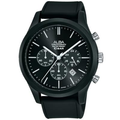 ALBA雅柏 新潮三眼計時運動錶(AT3G19X1)-黑/44mm