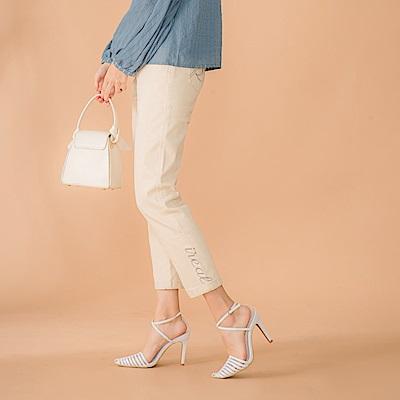 IREAL【完美下著】品牌刺繡顯瘦直筒褲