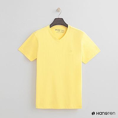 Hang Ten - 男裝 - 有機棉小V領純色T恤 - 黃