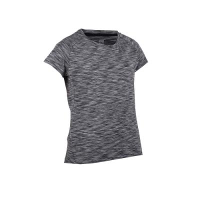 FIRESTAR 女彈性短袖圓領T恤-慢跑 路跑 深麻灰