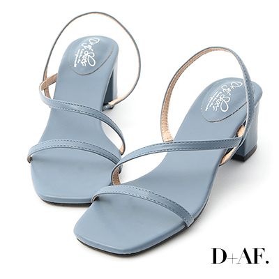 D+AF 完美心機.一字斜帶方頭中跟涼鞋*藍