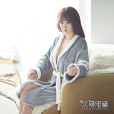 睡袍 典雅舒適柔軟毛絨睡袍。灰色 久慕雅黛