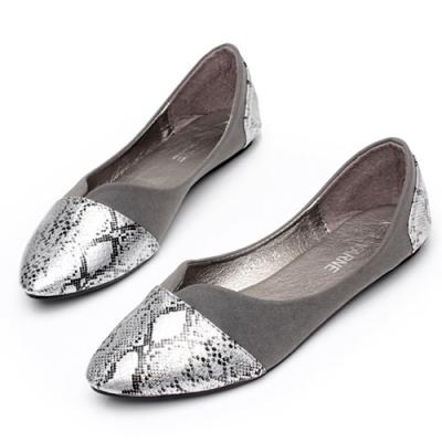 KEITH-WILL時尚鞋館 歐美時尚尖頭平底鞋-灰