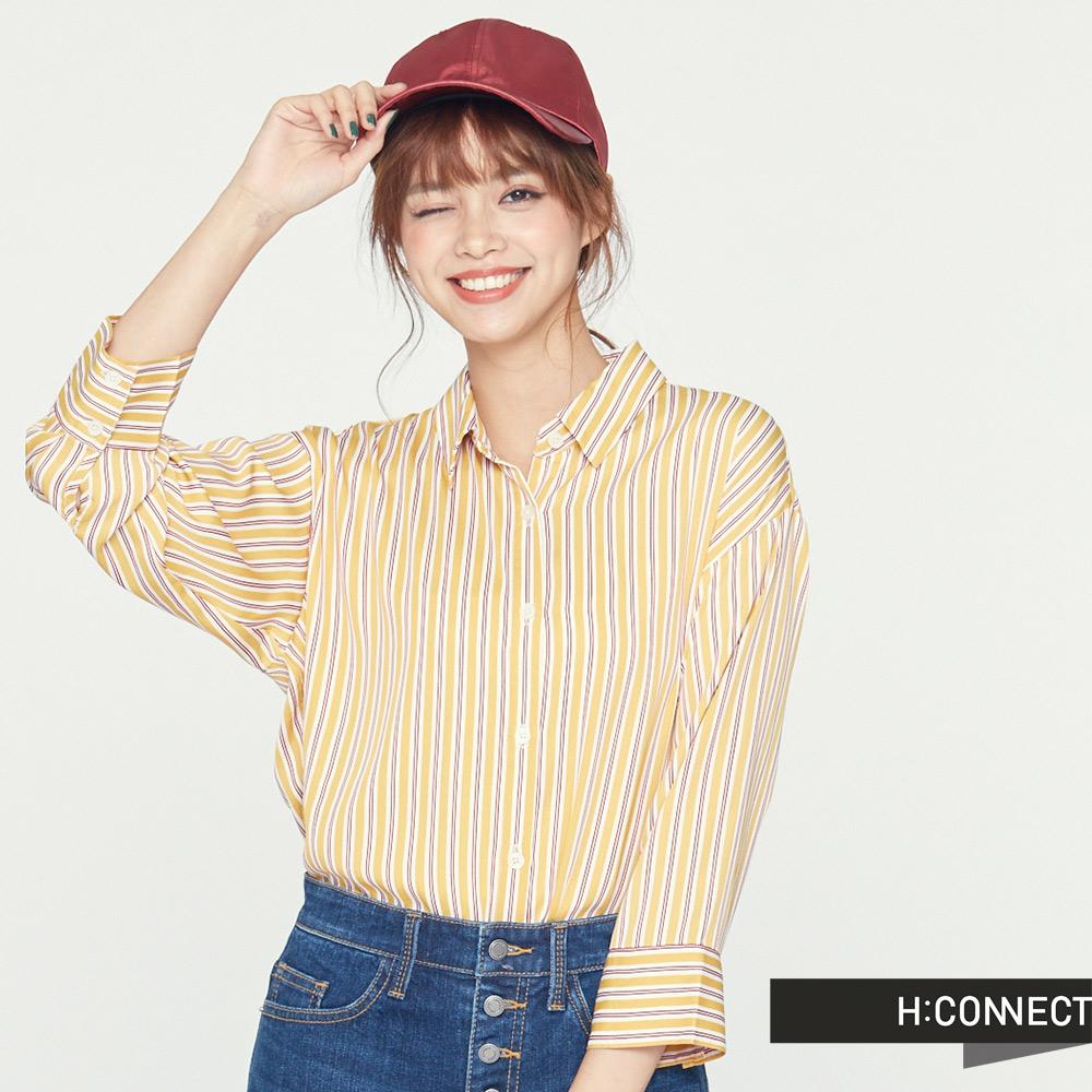 H:CONNECT 韓國品牌 女裝 -雙配色直條紋襯衫-黃(快) @ Y!購物