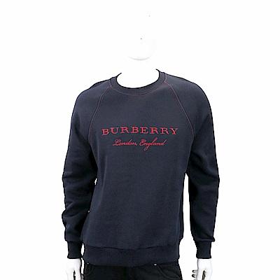 BURBERRY 徽標繡飾深藍色內刷毛平織運動衫
