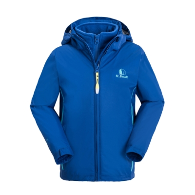 【St. Bonalt 聖伯納】童款兩件式4in1內刷毛衝鋒衣 (7055-寶藍) 防風 防水 保暖 透氣 耐磨
