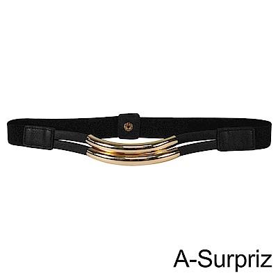 A-Surpriz 金屬彎管細版彈性腰封(黑)