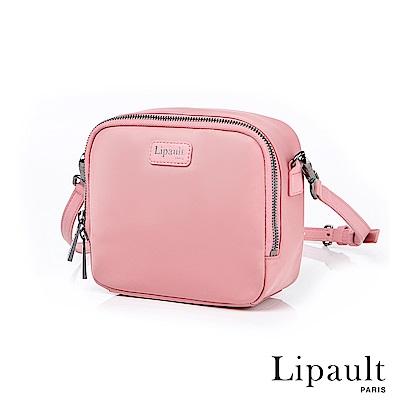 法國時尚Lipault Plume Basic迷你尼龍方形斜背包(亮桃紅)