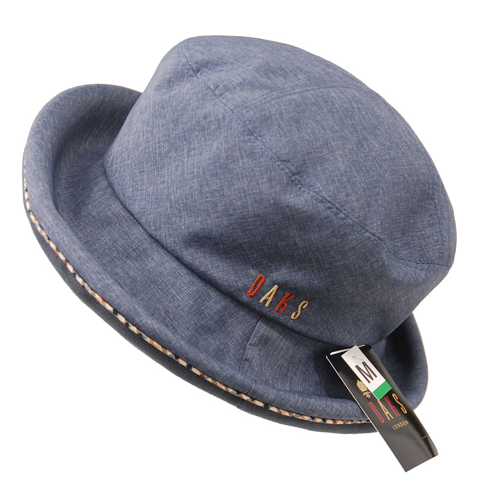 DAKS 日本製抗UV科技纖維格紋滾邊刺繡字母LOGO造型帽(丹寧藍)