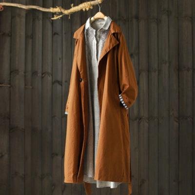 沉穩大氣雙排扣後鬆緊繫帶風衣寬鬆中長版外套-設計所在