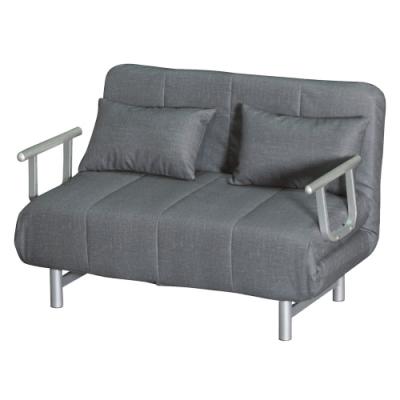 綠活居 卡婓時尚灰皮革多功能沙發/沙發床(拉合式機能設計)-121x193x38cm免組