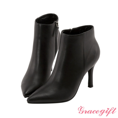 Grace gift X Kerina-聯名素色尖頭細跟靴 黑