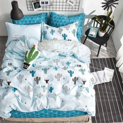 A-ONE 100%純棉-清新E系列-雙人床包/枕套組-小盆栽