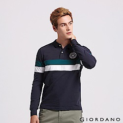 GIORDANO  男裝立體刺繡撞色長袖POLO衫-22 標誌海軍藍